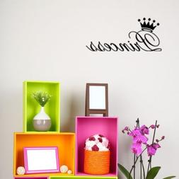 Princess Crown Black Quote  Removable Wall Stickers Decal fo