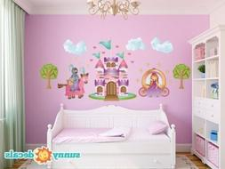 Princess Fabric Wall Decals with Knight Castle Trees Clouds,