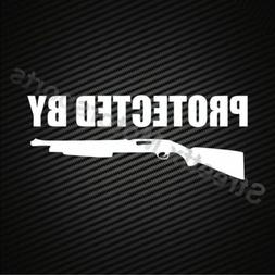Protected by Shotgun Sticker Decal Gun Security Protection C