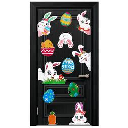 UNOMOR PVC Easter Rabbits Eggs Carrots Wall Stickers Party D