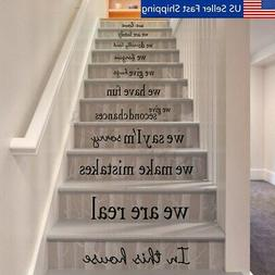 Quote We Are Family In This House Vinyl Art Stair Decals Wal