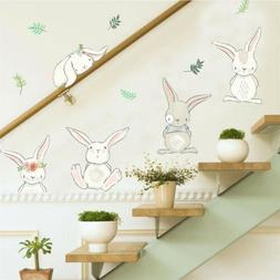 rabbit flower wall stickers for kids rooms home decor wall d