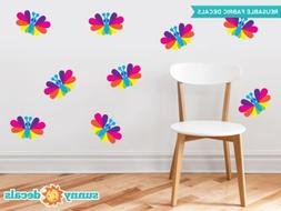 Rainbow Butterfly Fabric Wall Decals, Set of Nine Butterflie