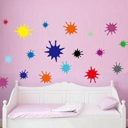 Rainbow Color Paint Splats Wall Sticker Decal Girls Room Bed