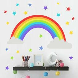 Rainbow Colorful Stars Wall Sticker Kids Girls Boys Room DIY
