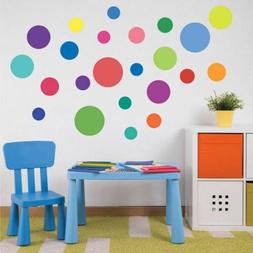 Rainbow Colors Polka Dot Wall Decal Girls Kids Room Nursery