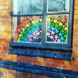 Rainbow heart stickers decals for window or wall, vinyl