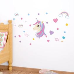 Rainbow Unicorn with Star Cloud Heart Wall Decals For Girls