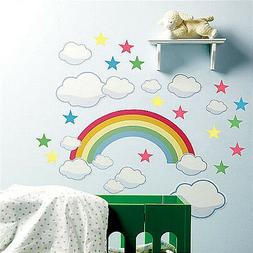 WALLIES RAINBOW wall stickers Mural 42 decals clouds stars n
