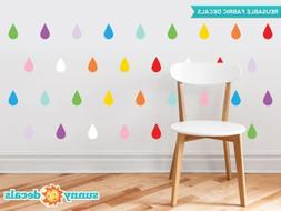 Raindrop Fabric Wall Decals - Set of 40 Raindrops Wall Patte