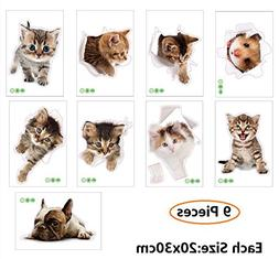 Amaonm 9 PCS Removable 3D Cute Animals Wall Decals Lovely Ca