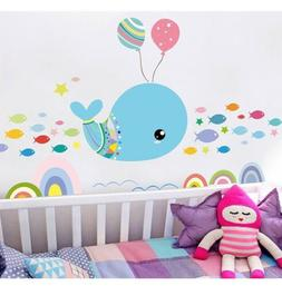 Removable Cute Whale & Fish Wall Sticker Decal For Kids Nurs