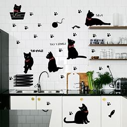Amaonm® Removable DIY Cute Cartoon Black Cat Wall Decor Kid