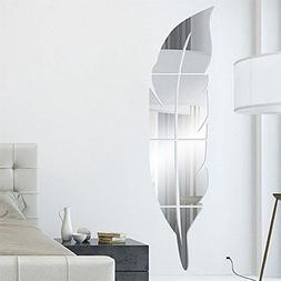 removable feather mirror wall stickers