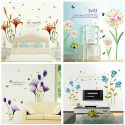 Removable Flowers Wall Stickers DIY Art Decals Mural Vinyl H