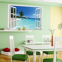 Amaonm Removable Huge Large 3D Beach Sea Window View Art Dec