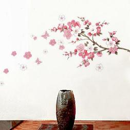 Removable Peach Plum Cherry Blossom Flower Butterfly Mural W