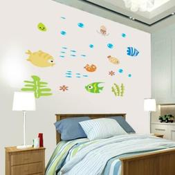 Removable Sea World Fishs Wall Sticker Mural Decals For Kids