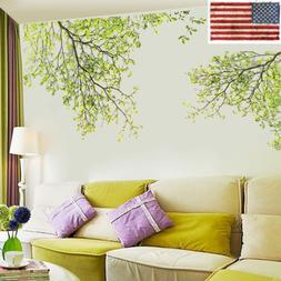 Removable Vinyl Art Wall Sticker Green Tree Branch Mural Dec