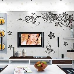 Amaonm® Removable Vinyl Black Flowers and Flower Vines Wall