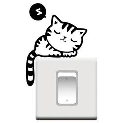 Removable Wall Stickers Sleepy Cat Room Switch Wall Stickers