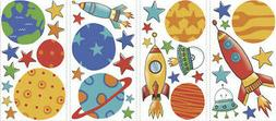 RoomMates RMK2618SCS Planets and Rockets Peel and Stick Wall