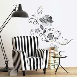 rmk2783gm black white flower scroll