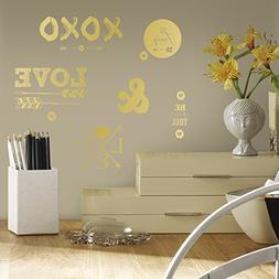 RoomMates RMK2995SCS Gold Love with Hearts and Arrows Peel a