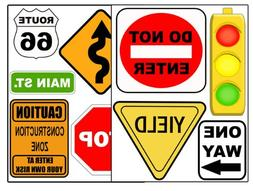 Road Signs Wall Sticker Decal Street Sign Appliques for Kids