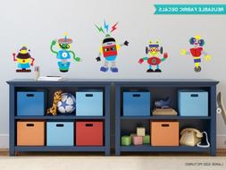 Robot Fabric Wall Decals, Set of 5 Cool Robots, 3 Size Optio