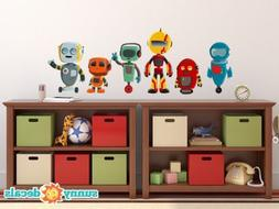 Robot Fabric Wall Decals, Set of 6 Cute Robots, 3 Different