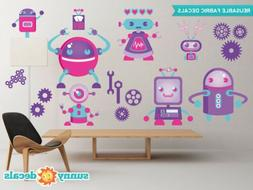 Robot Fabric Wall Decals - Two Sizes Available - Girls