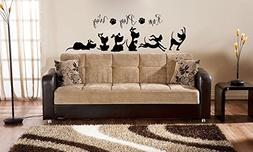 Run Play Wag with Dog Silhouettes Vinyl Wall Words Decal Sti