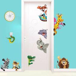 Safari Animals Kids Room Wall Decal 3D Reusable Large Sticke