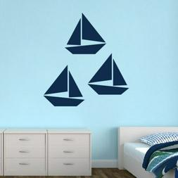 Sailboats Wall Decal Set - Nautical, Sea, Lake, Beach, Boati