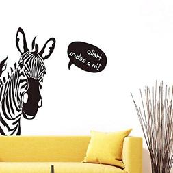 BIBITIME Saying Hello Black White Zebra Wall Stickers Nurser