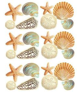 WALLIES SEASHELLS wall stickers 24 decals bathroom decor she