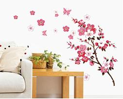 SWORNA Nature Series Branch Pink Flowers & Butterfly Removab