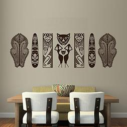 "Set of African Tribal Masks and Figures Wall Decal - 27"" x 9"