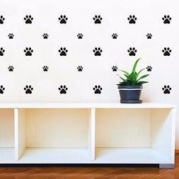 JOYRESIDE 49 Pieces/Set Dog Paws Wall Decals Vinyl Pawprints