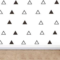 64pcs/Set Modern Vinyl Triangles Wall Decal Solid/Outline Tr