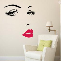Sexy Woman Face Eyes Wall Stickers For Girls Room Decor DIY