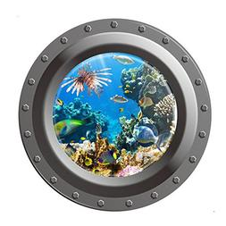 Vktech® Shark Ocean View Wall Sticker 3D Porthole Window Ki