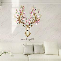 sika deer head flowers wall stickers wall decals kids home d