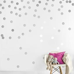 Silver Wall Decal Dots  | Easy Peel & Stick + Safe on Walls