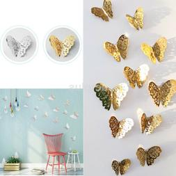 Silver Gold Removable Butterfly Wall Sticker Decals Bedroom