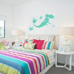 small mermaid and starfish wall decals small