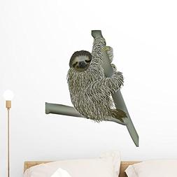 Wallmonkeys Smiling Sloth Hanging Branch Wall Decal Peel and
