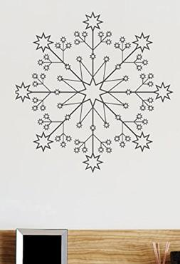 Snowflake Wall Decals Stickers ID003, Black, 36 Inches
