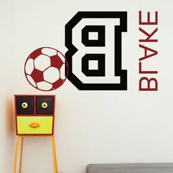 Soccer Football Personalized Name Vinyl Wall Sticker Decal S